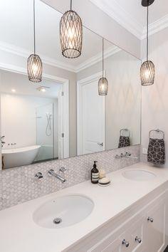 hamptons bathroom evermore hamptons home at the Grange 5 Hamptons Kitchen, Hamptons House, The Hamptons, Hampton Style Bathrooms, Upstairs Bathrooms, Bathroom Renovations, Budget Bathroom, Bathroom Ideas, Bathroom Styling