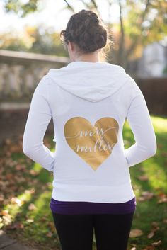 Bride Hoodie Custom Personalized Bride Zip Up by DeighanDesign