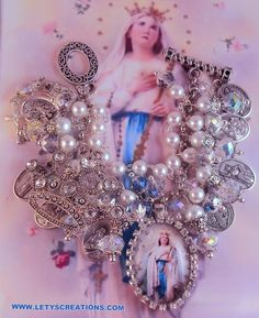 """Catholic Virgin Mary """"Queen of the Rosary"""", Saints, Religious Medals Bracelet"""