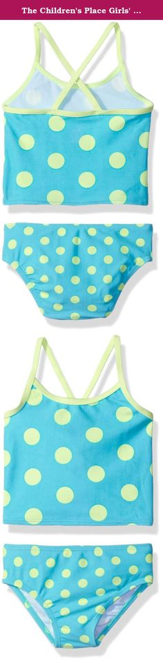 The Children's Place Girls' Dot Print Tankini, Sea Frost, 12-18 Months. An itsy-bitsy teenie weenie polka-dot tankini for summer.