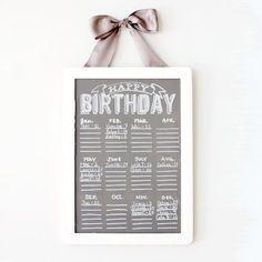 Chalkboard Birthday Calendar
