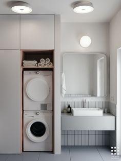 bathroom grey and white tiles * bathroom grey and white - bathroom grey and white decor - bathroom grey and white colour schemes - bathroom grey and white tiles - bathroom grey and white modern - bathroom grey and white ideas Wc Bathroom, Bathroom Goals, Laundry In Bathroom, Modern Bathroom, Small Bathroom, Bathroom Ideas, Bathroom Designs, Fully Tiled Bathroom, Bathroom Vanities