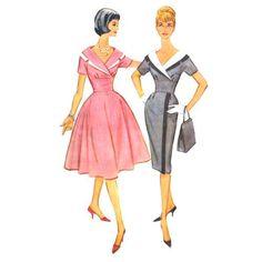 1960s Surplice Dress Pattern Slim or Full Skirt Bust 38 McCall's 5354. $25.00, via Etsy.