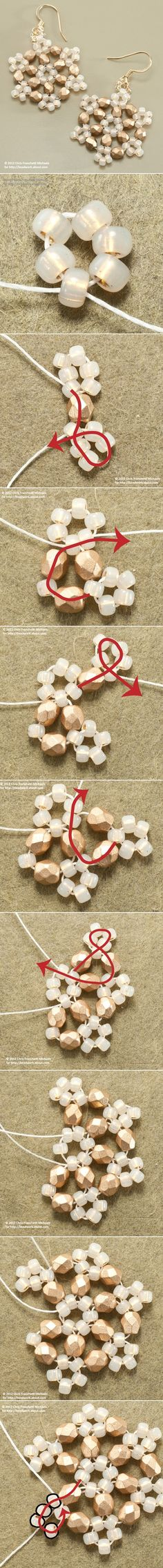 Diy Projects: Beaded Snowflake Earrings: might work well with paper beads...Hmmm