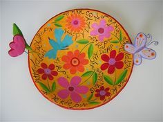 Happy days with flower and a butterfly-50cm wide paper mache