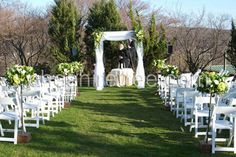 Wedding, Flowers, White, Green, Ceremony, Orchids, Tulle, Chuppah