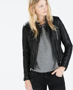 Image 2 of LEATHER JACKET WITH ZIPS from Zara