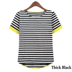 OUMENGKA Short Sleeve Striped T-Shirt   Furrple