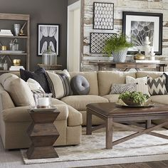 Awesome tables, wall treatment, pillows - Not crazy about the sectional