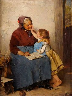 Max Rentel (German 1850 - Großmutter mit Enklein (Grandmother with granddaughter) Paintings I Love, Beautiful Paintings, Illustration Art, Illustrations, Woman Reading, Norman Rockwell, Art History, Vintage Art, Painting & Drawing