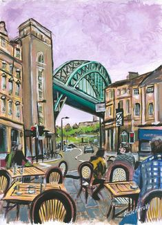 745eb6bdbddc View From Red House -A3 12x16 giclee print gouache   acrylic on paper Tyne  Bridge