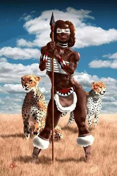 f Barbarian Spear 2 Cheetah african warrior princess Art Black Love, Sexy Black Art, Black Girl Art, Art Girl, Afrique Art, Creation Art, Black Art Pictures, Black Artwork, African American Art