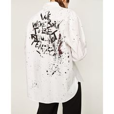 SHIRT WITH PAINT SPLATTER AND BACK PRINT - COLLECTION-WOMAN-SALE |... ($50) ❤ liked on Polyvore featuring print shirts, white shirt, shirt top, paint splatter shirt and patterned tops