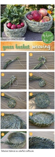 There are many ways to grass basket weaving. This simple technique is just one of many. Learn how to make your own grass basket with a step by step tutorial Weaving Projects, Weaving Art, Paper Basket Weaving, Weaving For Kids, Diys, Diy And Crafts, Arts And Crafts, Art Crafts, Pine Needle Baskets