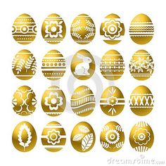 Silhouettes Of Golden Easter Eggs Isolated On White Background. Holiday Easter Eggs Decorated With Flowers, Rabbit, Leafs. Easter Stock Vector - Illustration of gift, ornament: 140908113 Easter Backgrounds, Easter Holidays, Egg Decorating, Silhouettes, Easter Eggs, Illustration, Print Design, Rabbit, Scrap