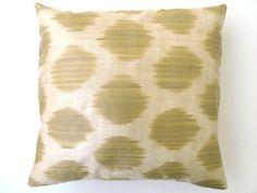 T. Decorative Silk Ikat Throw Pillow Cover by DivanCushu : 16x16inch Green Pillow Case, Polka Dot Pillow, Light Olive Green, Creme. $39.90, via Etsy.