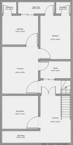 Town House Plans, 2bhk House Plan, Free House Plans, Simple House Plans, Duplex House Plans, House Layout Plans, Bedroom House Plans, Modern House Plans, Bungalow Floor Plans
