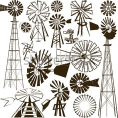 Windmill Clipart and Stock Illustrations. Windmill vector EPS illustrations and drawings available to search from thousands of royalty free clip art graphic designers. Windmill Drawing, Windmill Tattoo, Farm Windmill, Windmill Decor, Old Windmills, Stock Foto, Decoration, Art Drawings, Stencils