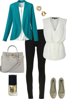 I like the straight leg pants, stylish colored blazer that's not boxy, and white loose-fitting blouse that still has a waist!