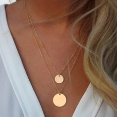 Double Layered Gold Sequin Double Strand Necklace,Layering Disc , Boho Necklace, Beach Jewelry