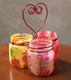 Plaid Supplies  Mod Podge Gloss – CS11201  Other Supplies  3 Mason jars, Red floral wire, Tissue papers – floral & 3 solid colors, Hot glue, Sand paper, Paint brush, Wire Cutters, Needle nose pliers