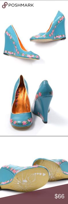 """NWOB Irregular Choice hand painted wedges OMG what delightful little wedges from Irregular Choice. A perfect example of their fun & QUIRKY style!! Rounded toe, slim wedge heel. Approx. 4-4.5"""" high, but much easier to wear than a heel b/c of the wedge. These are new without box or tags. Robin's egg blue leather, with a Dutch-inspired hand painted floral pattern in pink and green. Size 40, approximate US 10. Irregular Choice Shoes Wedges"""