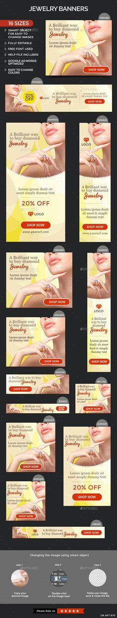Jewelry Web Banners Template #design #ads Download: http://graphicriver.net/item/jewelry-banners/12802012?ref=ksioks