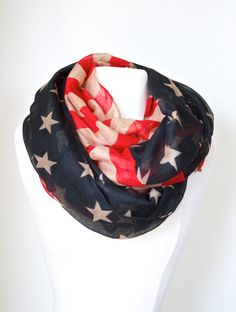 Vintage American Flag Infinity Scarf  July 4th by LePetitMonkey
