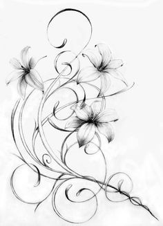 This would be a nice hip tattoo. 1 Tattoo, Body Art Tattoos, New Tattoos, Sleeve Tattoos, Cool Tattoos, Tatoos, Lily Tattoo Sleeve, Swirl Tattoo, Tattoo Quotes