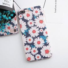 Soft TPU Case for iphone 5s 5 SE 6 6s 6plus Flowers Daisy Plants Fruit Cactus Leaves Pattern Phone Case for iphone 7 7plus