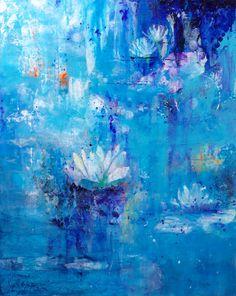 Abstract Waterlily Art, Blue Abstract Wall Art, Blue Artwork, Waterlily Artwork, Blue Flower Print, Contemporary Flower Decor, Fine Art