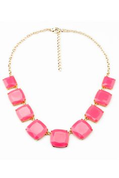 Geometric Candy Color Necklace in Pink