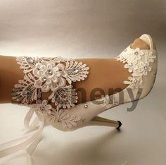 """3"""" 4"""" каблук белого цвета слоновой кости атлас кружевная лента открытый носок свадебная обувь размер 5-11 просто."""