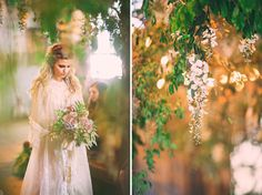 Love her dress, her hair, the floral overhang, the moss garden on the table; perfect and simple. [Bohemian: whimsical ceremony set up by using tree branches and wiring hundreds of individual wisteria flowers to hang down over the ceremony. Sounds like a labor of love, but so worth it, right?! the reception table with succulents + lavender roses to the braided hair]