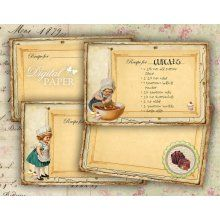 Recipe Cards - vintage - set of 4 - digital image printable