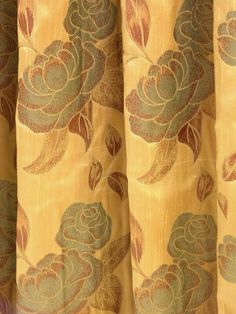 Floral jacquard curtain Fabric 118 inches wide golden by Eleptolis, $57.00
