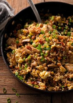 Chicken Fried Rice in a black skillet, fresh off the stove - Rice Recipes Sauce For Rice, Fried Rice With Oyster Sauce Recipe, Fried Rice Recipe With Sesame Oil, Fried Rice With Egg, Chicken Rice Recipes, Fried Rice Recipes, Healthy Fried Rice, Recipe Chicken, Chinese Cooking Wine