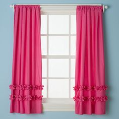 Love these hot pink curtains with a decorative ruffle for a girls bedroom! For more kids room decorating and organizing ideas visit https://www.facebook.com/KidsRoomDecor you may find something you 'LIKE'