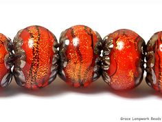 10706801 - Seven Bonfire Shimmer Rondelle Beads
