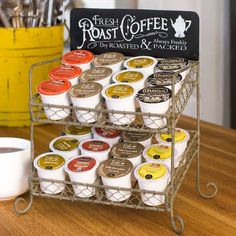 """This vintage-inspired caddy is designed to hold your K-Cups, and would also be useful for cups of creamer, tea bags, and other small items in your kitchen. Sit this next to your Keurig or coffee maker in any kitchen.8½""""W x 6""""D x 11¾""""T"""