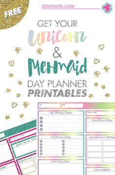 Get your FREE Unicorn & Mermaid Day Planner printables now!