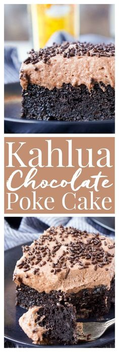This Kahlua Chocolate Poke Cake is a deliciously boozy dessert that will get any party started! This Chocolate cake is baked with soaked in and frosted with Kahlua. It's the ultimate boozy dessert!