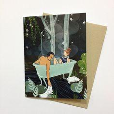 Night Bath Greeting Card with Envelope ChristaPiercePaper Etsy