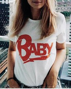 Baby Letters, Crew Neck, Plus Size, T Shirts For Women, Lady, Casual, Clothes, Tops, Prints