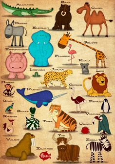 Animal ABC Poster. Available to buy from Laughing Lion Design. A great gift for birthdays, Christmas, and for decorating children's rooms.