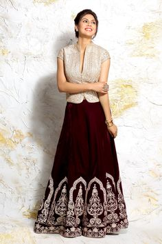 The Pearl Corcet Choli with Wine Velvet Lehenga Set - Jiya by Veer Design Studio Choli Designs, Sari Blouse Designs, Choli Dress, Lehenga Blouse, Long Choli Lehenga, Indian Designer Outfits, Designer Dresses, Indian Dresses, Indian Outfits