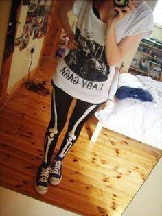 DIY skeleton leggings are just what I like for an interesting, shocking aesthetic.