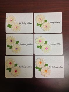 Cards by D Marshall using different colour combinations, Cricut embossing Folder, Stampin Up Daisy Delight stamp and punch, rhinestones