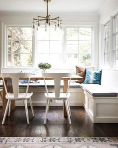 Gray Dining Nook with Salvaged Wood and Concrete Dining Table - Transitional - Dining Room Dining Room Windows, Dining Nook, Dining Room Design, Dining Room Table, Dining Bench, Table Bench, Wood Table, White Wood Dining Chairs, Bench Decor
