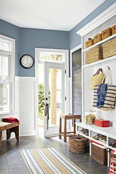 """Sherwin Williams """"bracing blue"""" - love the slate tiles and all the white trim. Lots of light."""